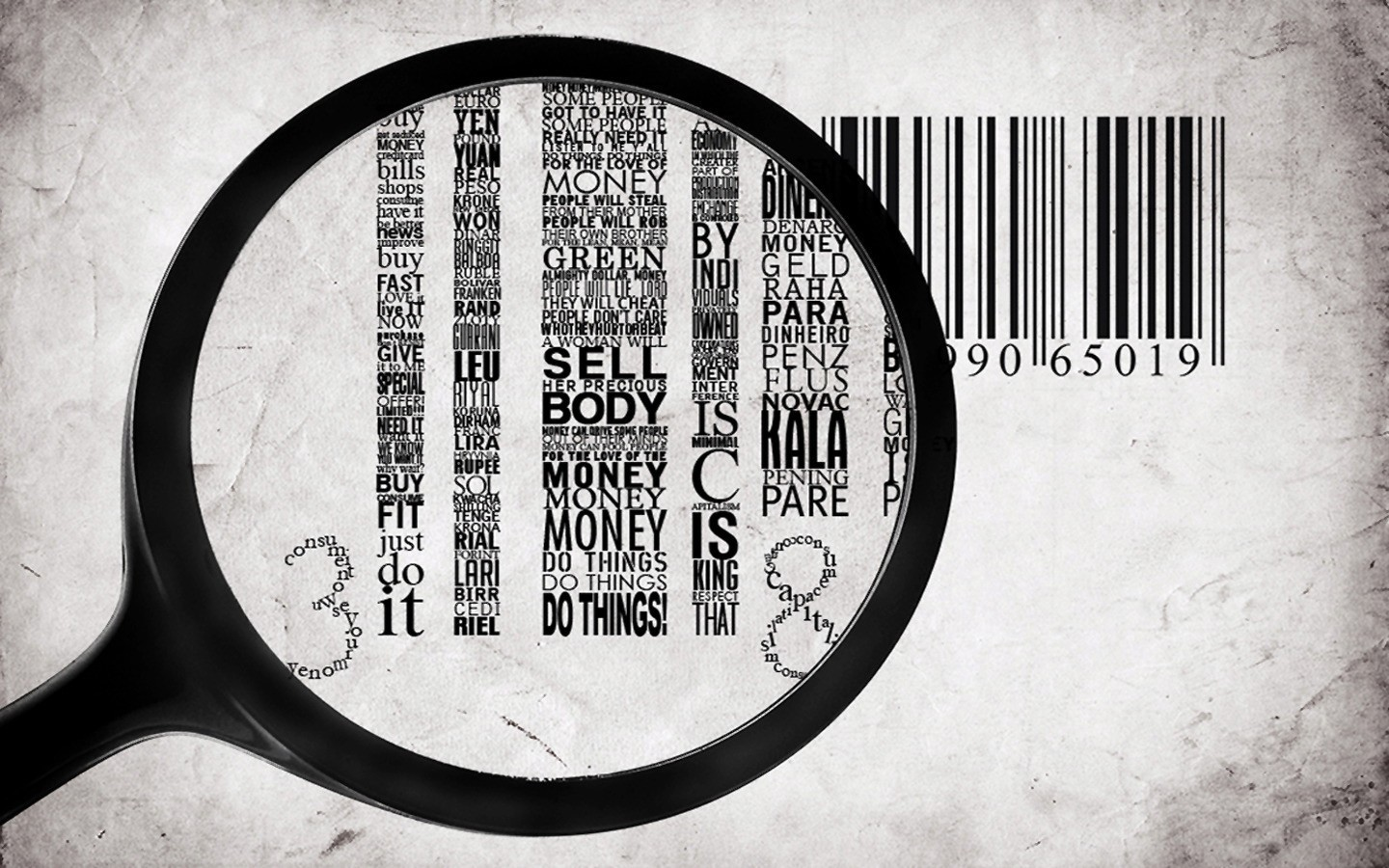 Money Typography monochrome barcode HD Wallpaper