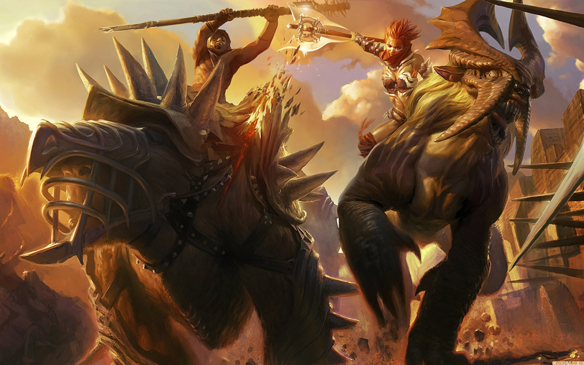 Monsters fight battles Axes HD Wallpaper