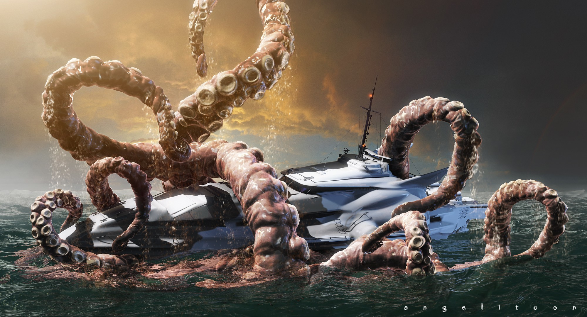 Monsters ships Kraken HD Wallpaper