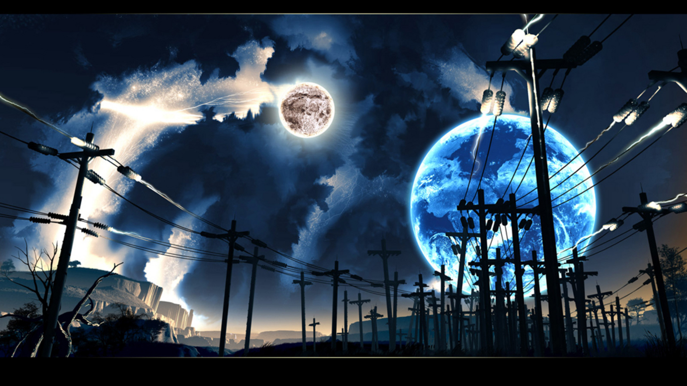 moon electricity power lines HD Wallpaper