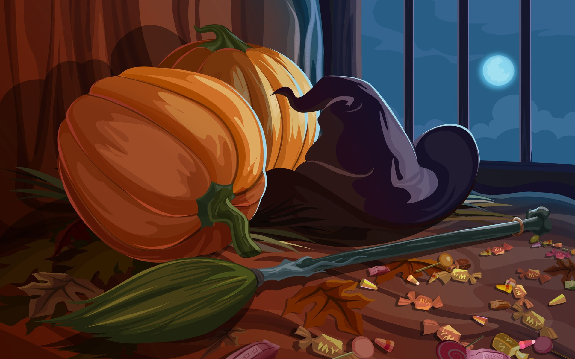 moon hats witch Candies HD Wallpaper