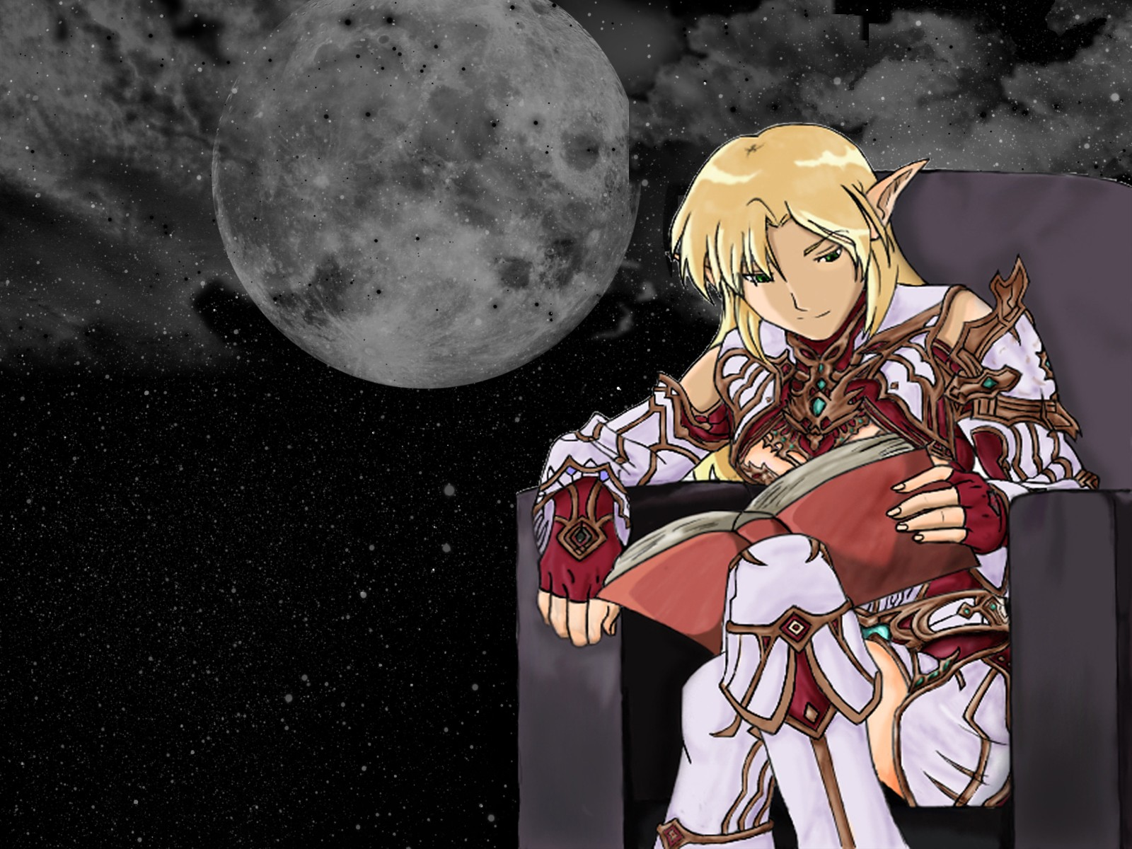 moon reading elves lineage HD Wallpaper