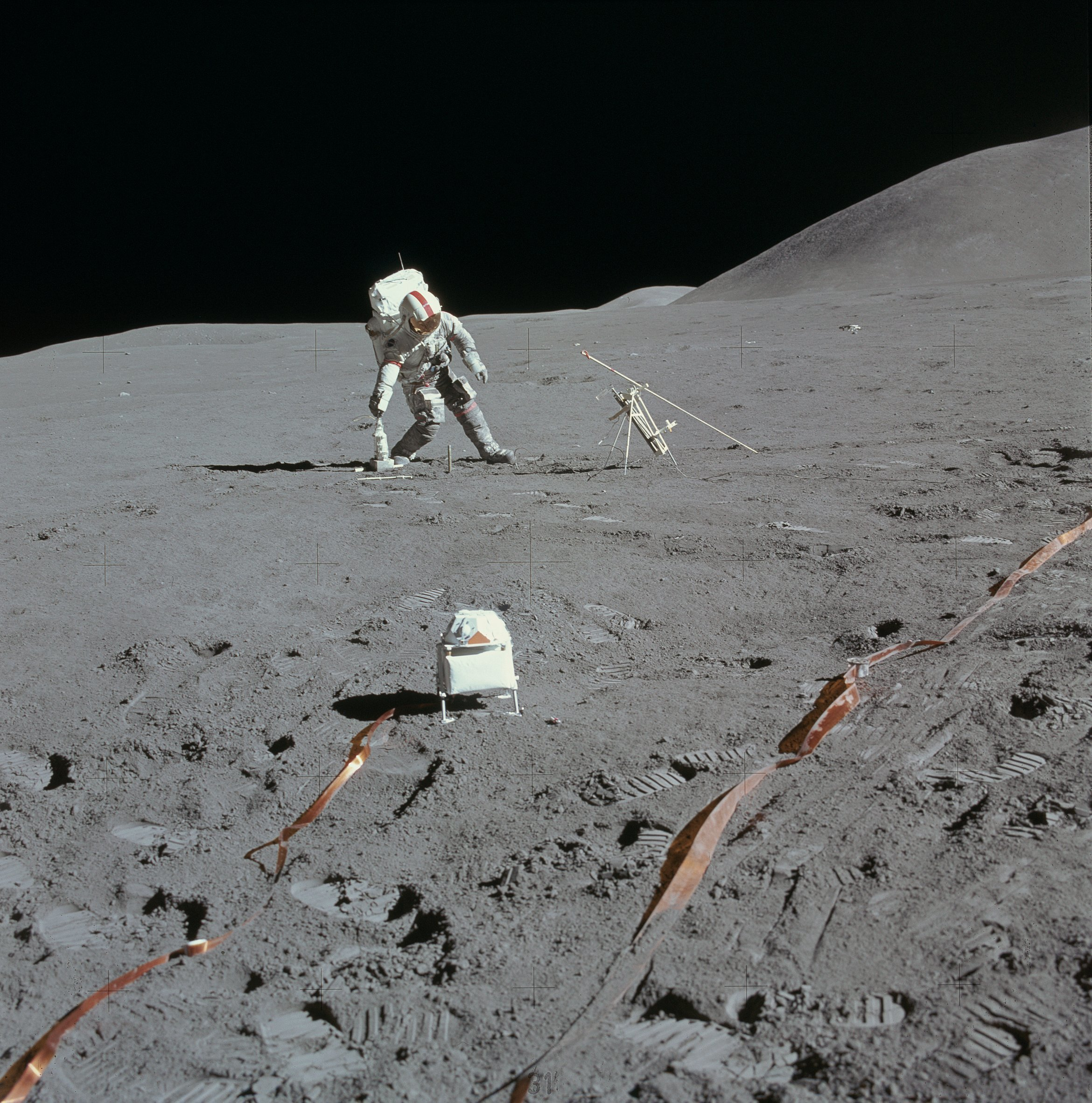 moon surface spaceman us astronut on