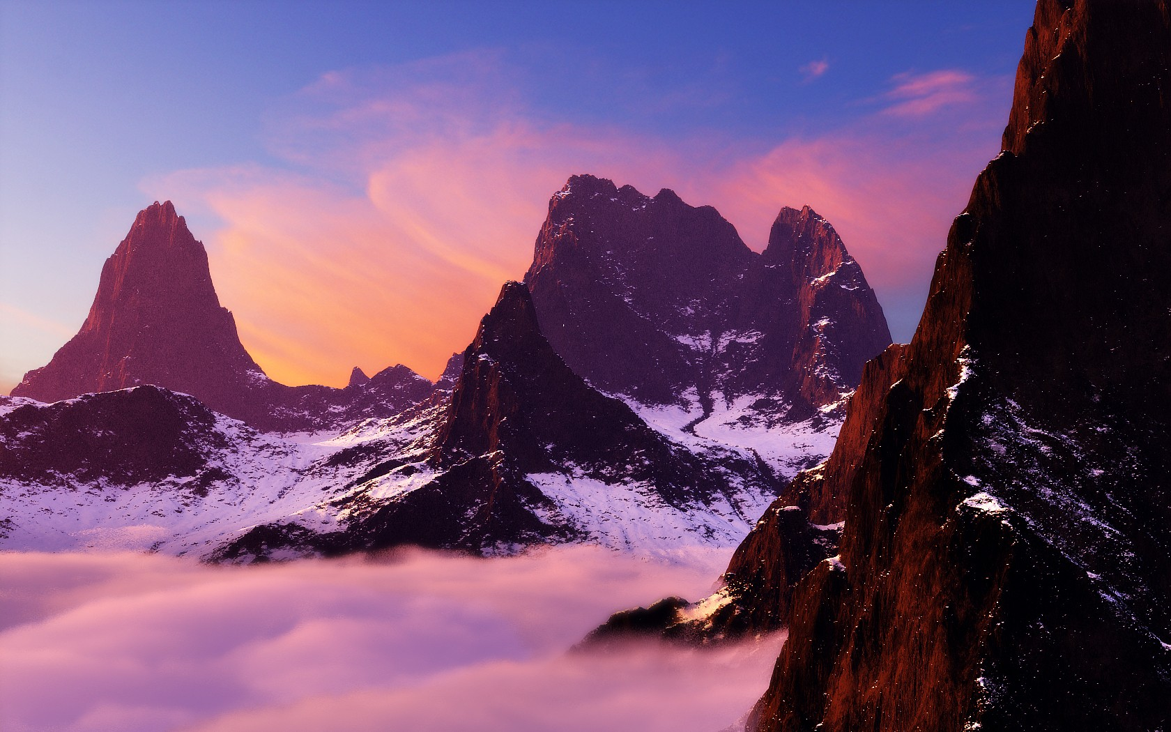 Mountains 3d Vue renders HD Wallpaper