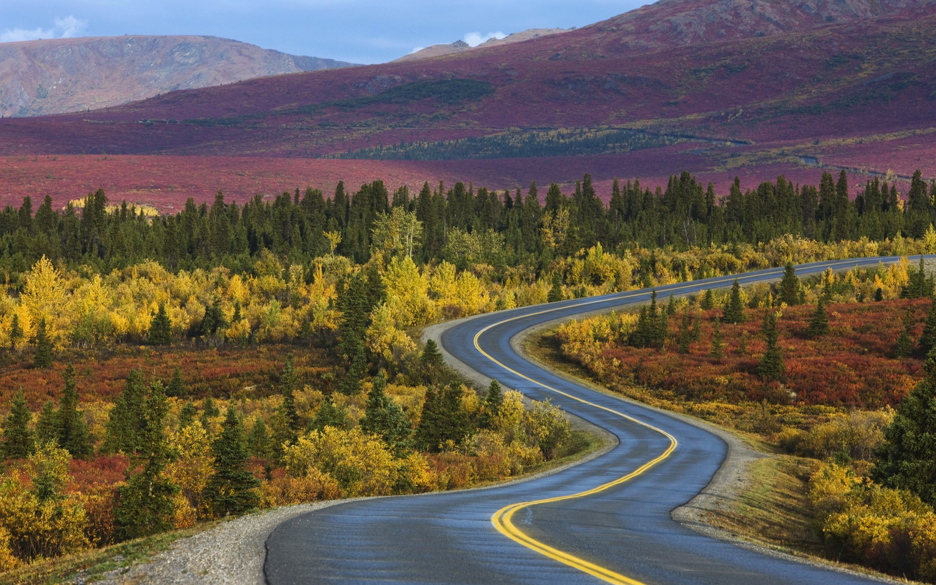 Mountains autumn roads HD Wallpaper
