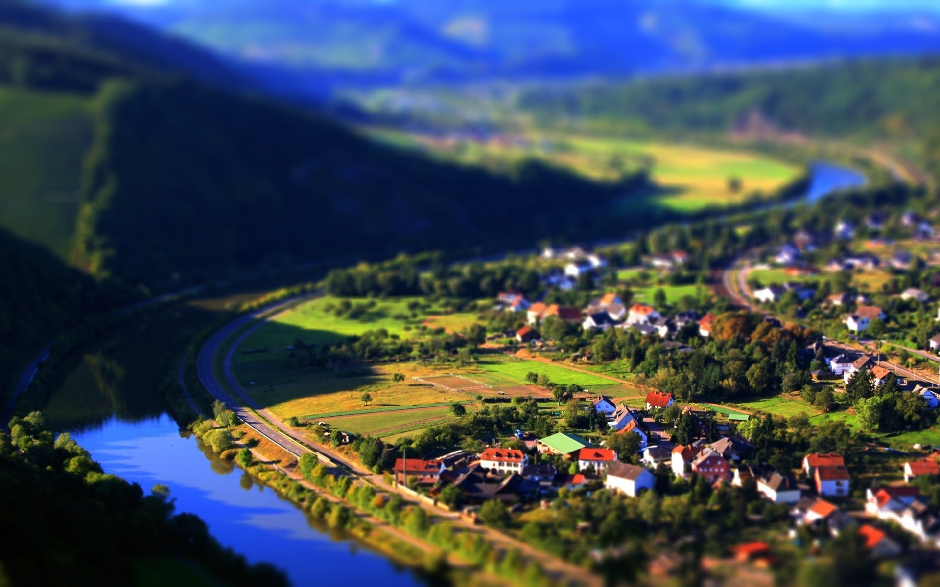 Mountains cityscapes houses tilt-shift HD Wallpaper