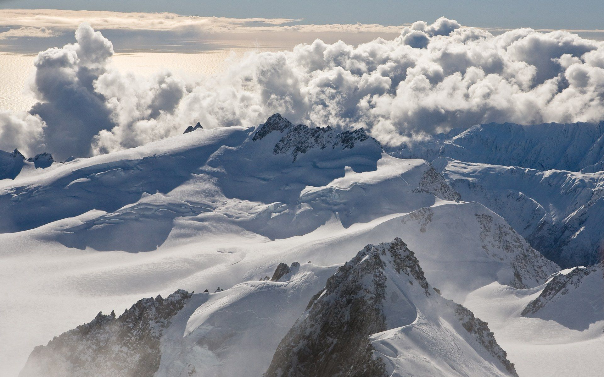 Mountains clouds nature snow