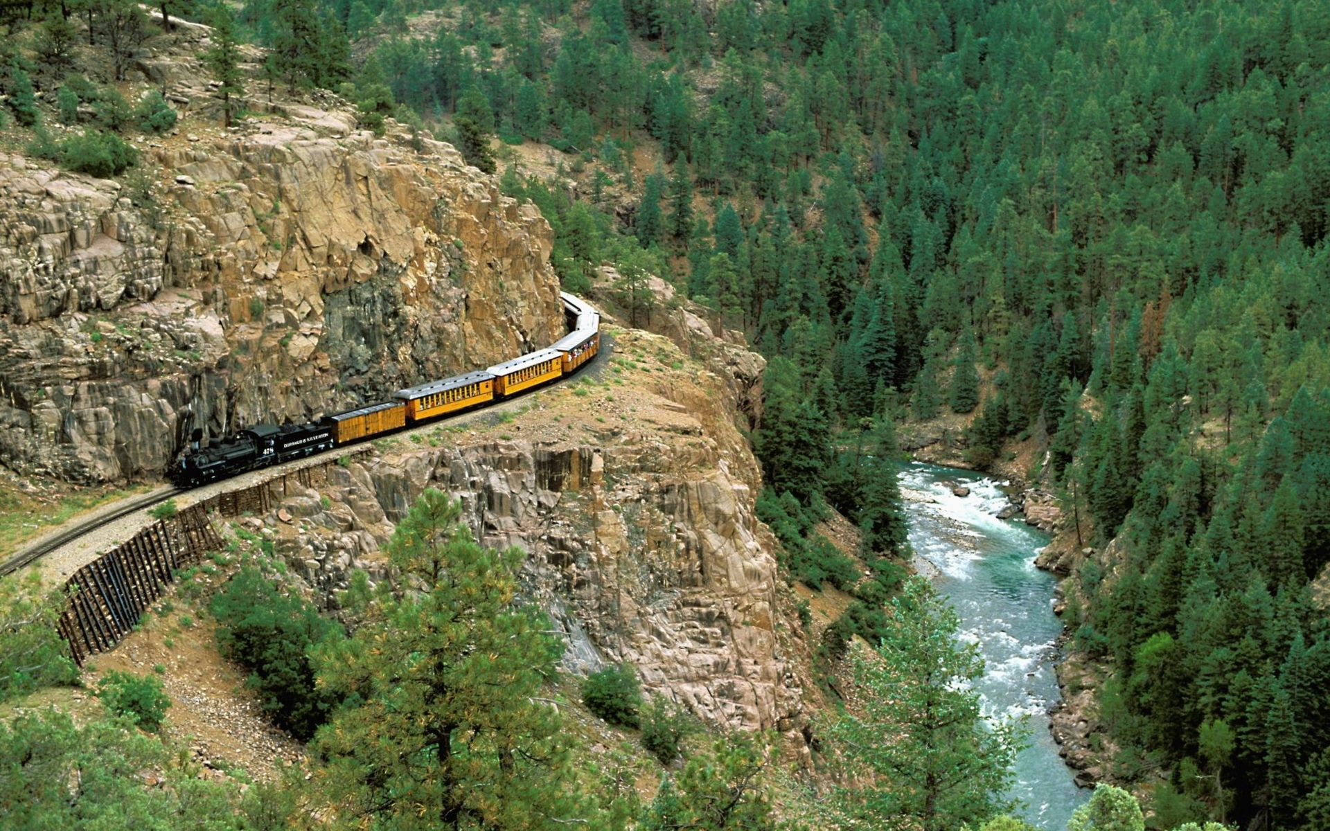 Mountains forests railroad tracks HD Wallpaper