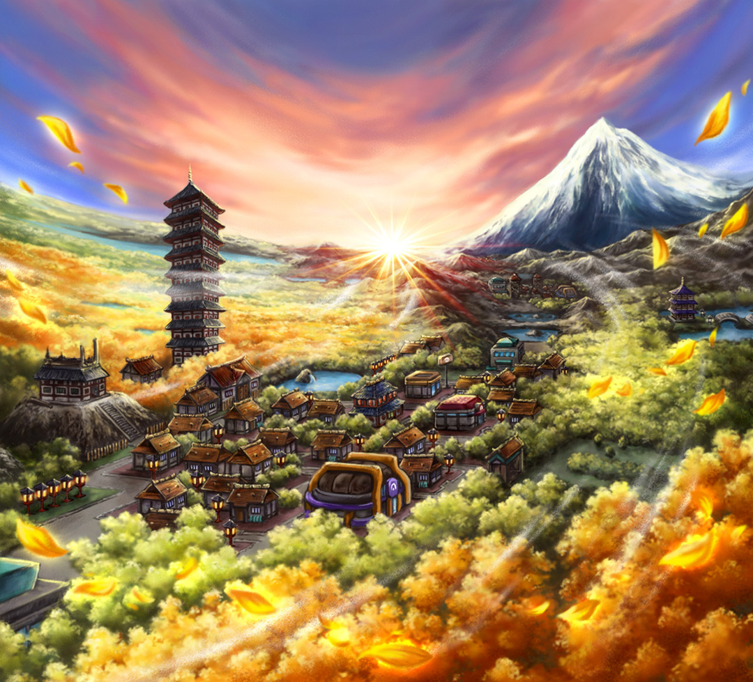 Mountains Landscapes Villages Anime HD Wallpaper