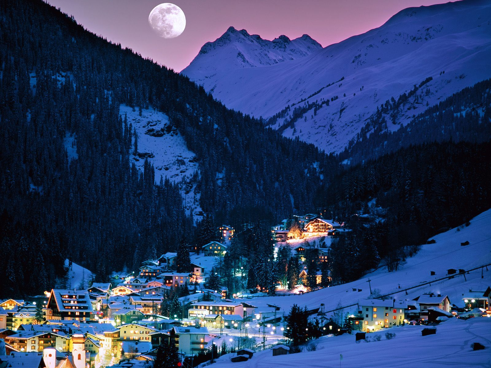 Mountains moon Villages HD Wallpaper