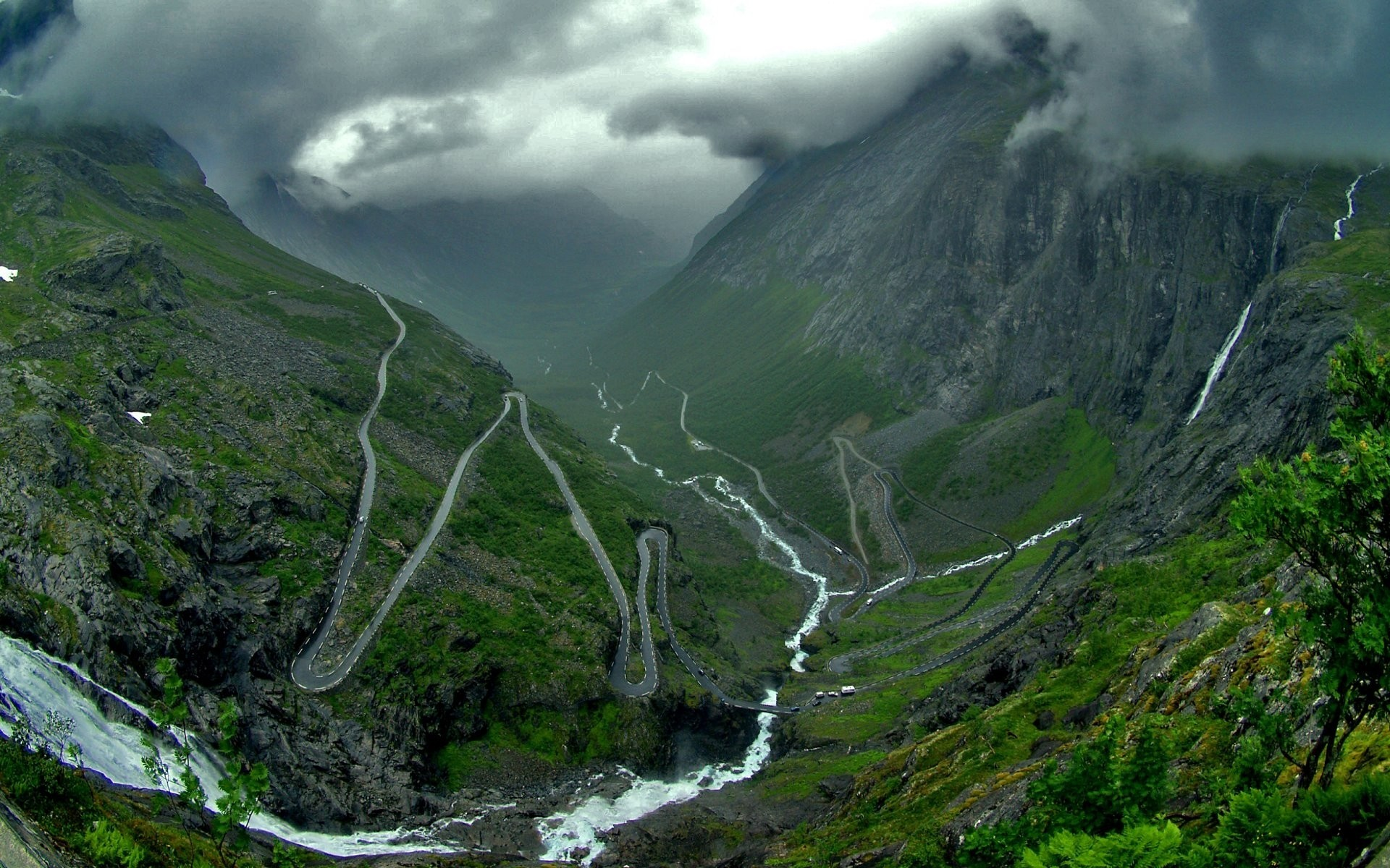 Mountains Norway roads Trollstigen HD Wallpaper