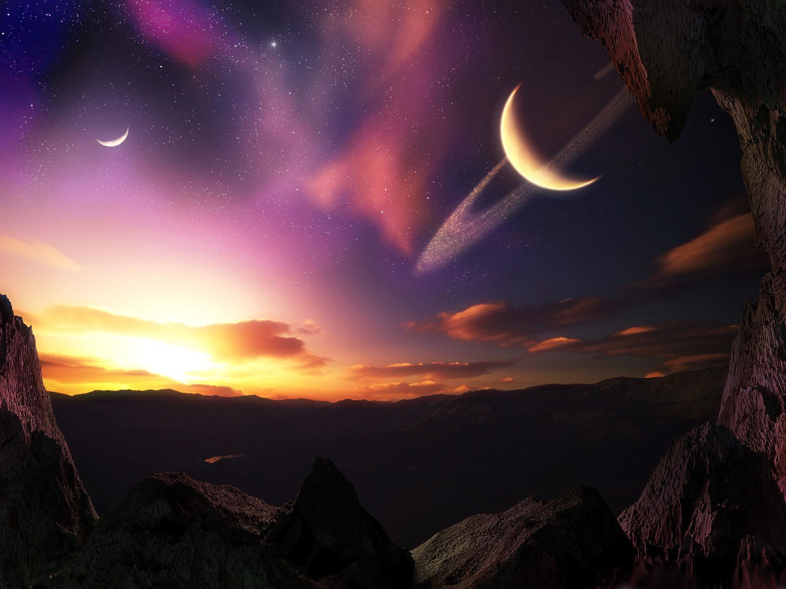 Mountains outer space horizon HD Wallpaper