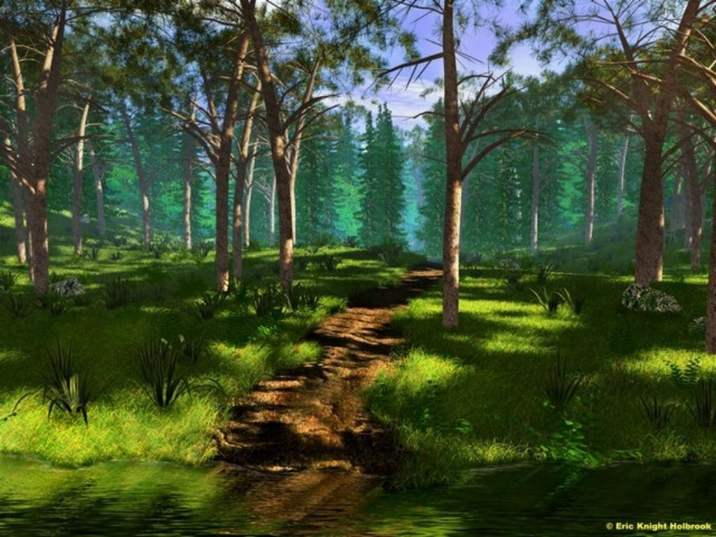 Mountains Trees paths faces HD Wallpaper