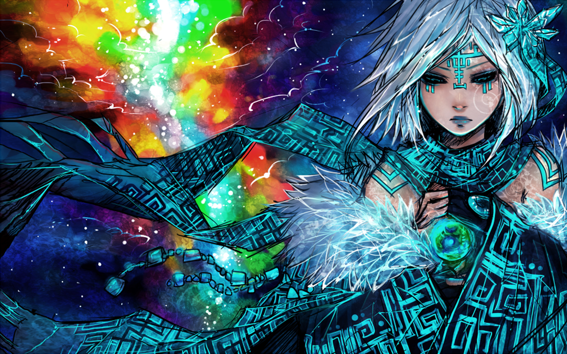multicolor artwork anime girls HD Wallpaper