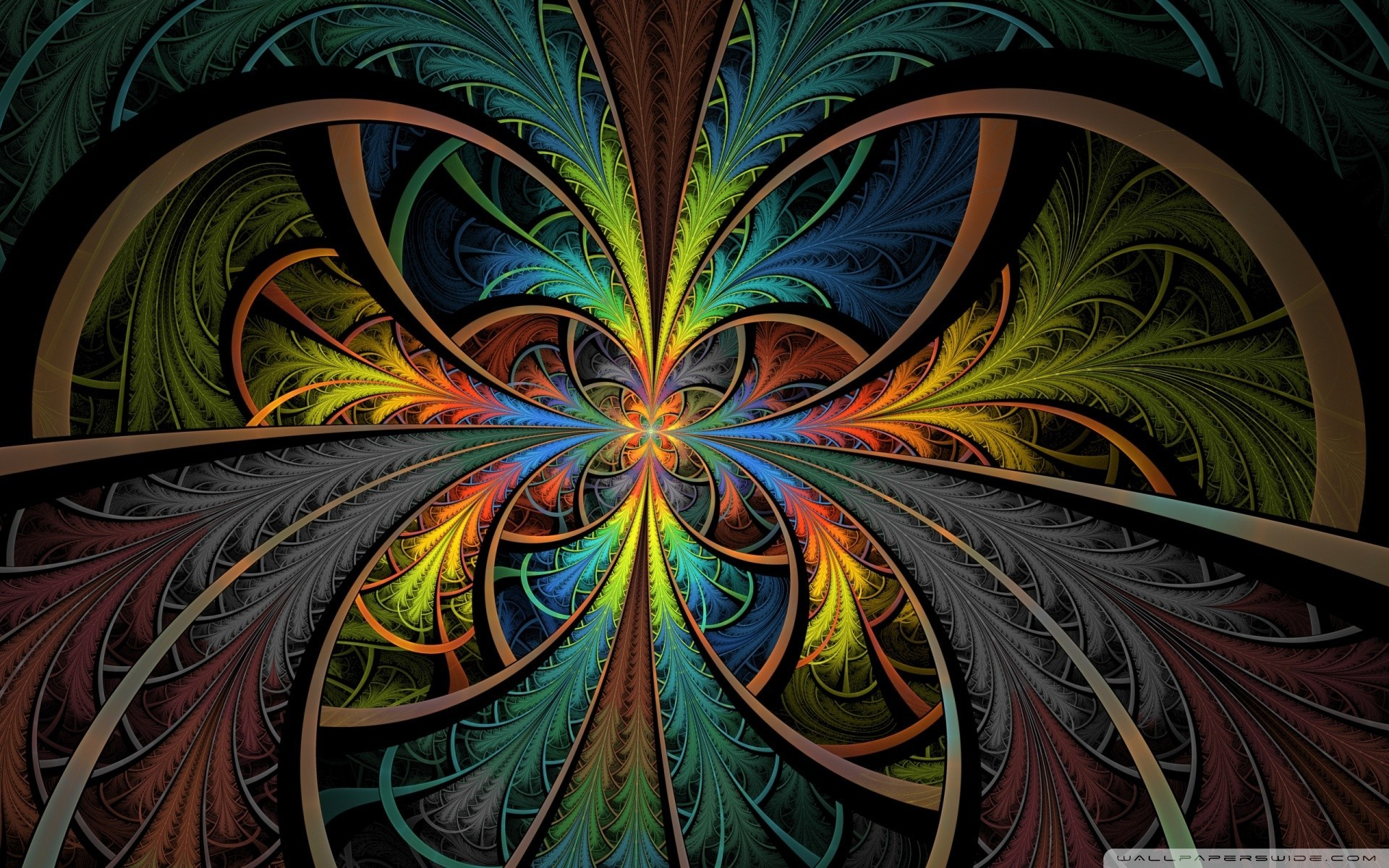 multicolor psychedelic stained glass HD Wallpaper