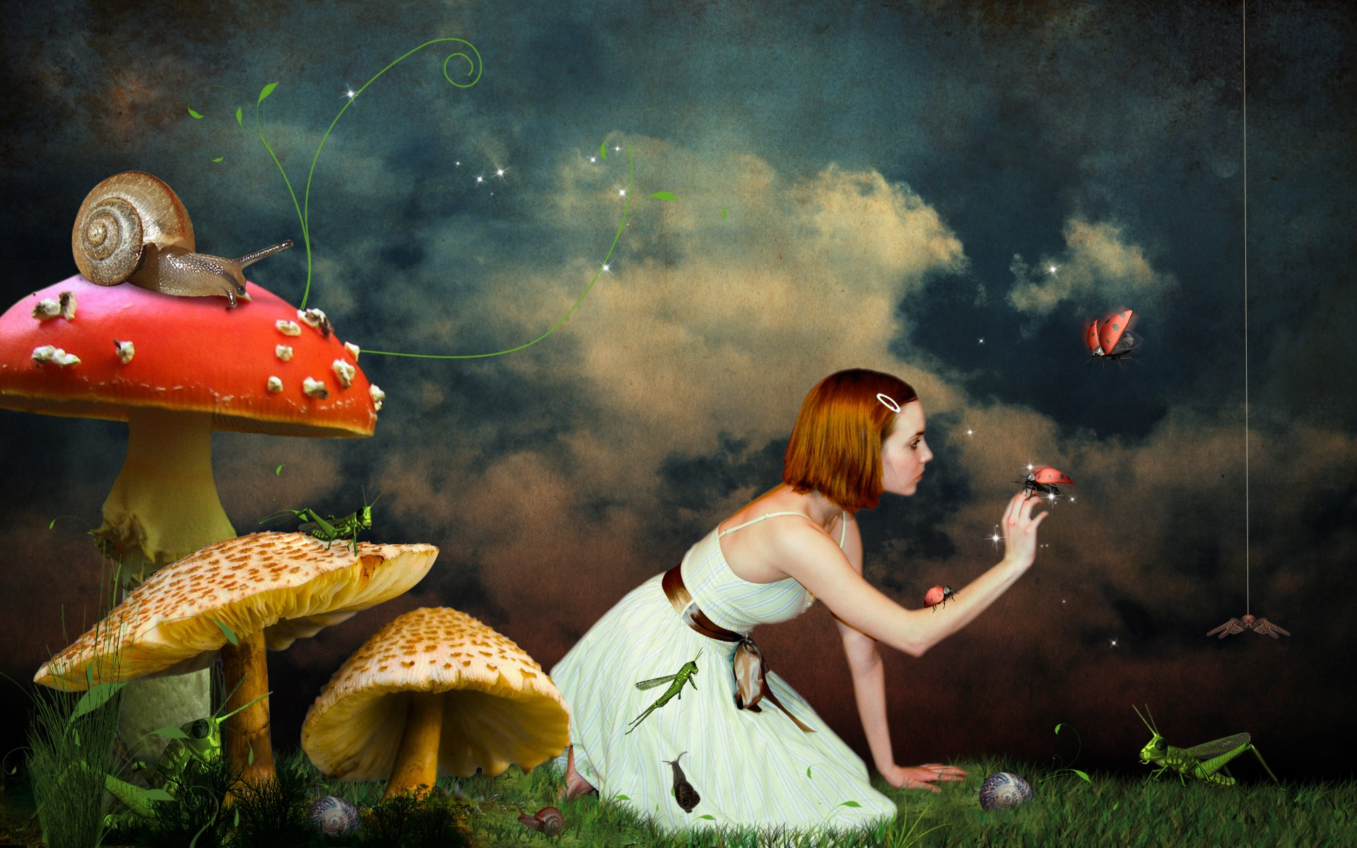 mushrooms woman redheads fantasy HD Wallpaper
