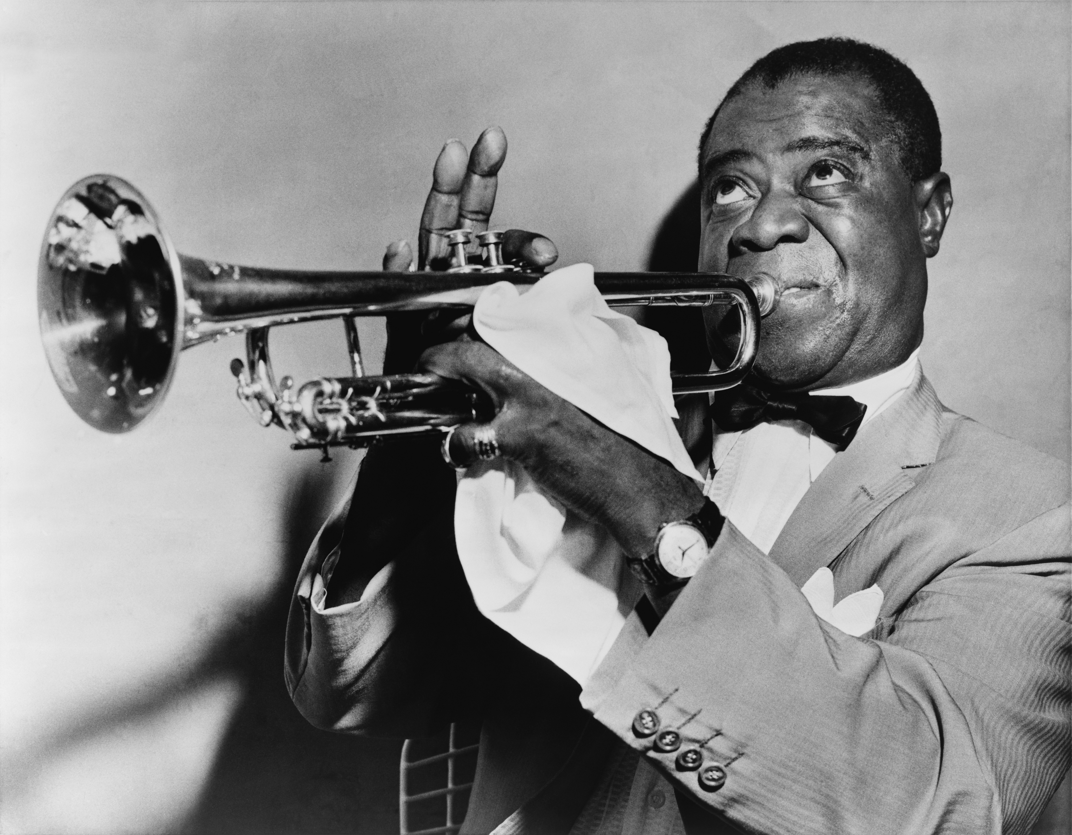 Music grayscale louis armstrong HD Wallpaper