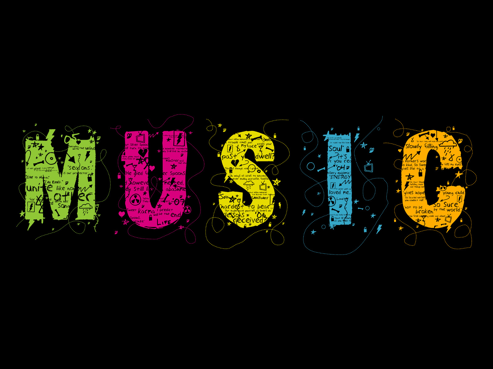 Music multicolor Typography artwork