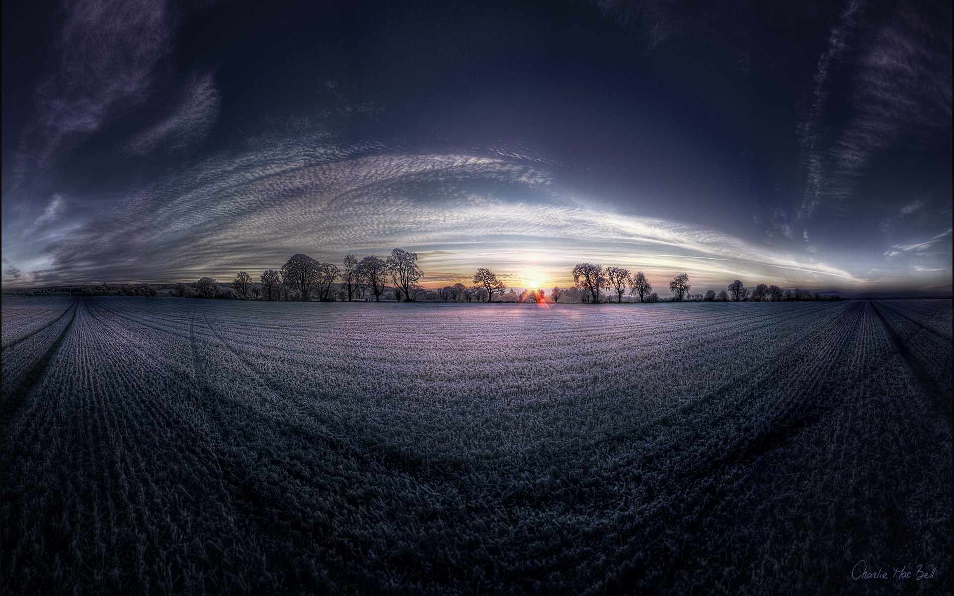 nature dawn fields panorama HD Wallpaper