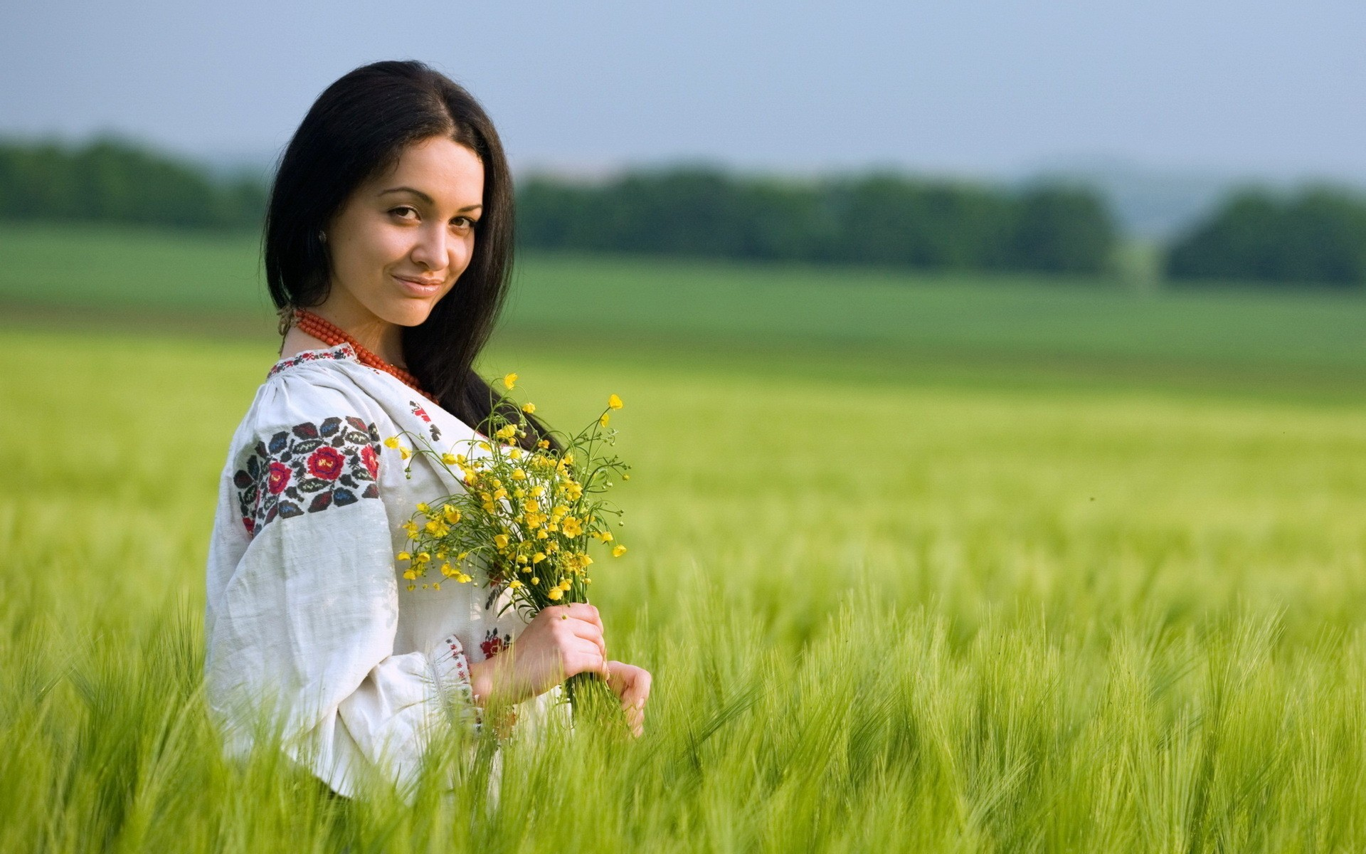 nature grass woman Ukraine HD Wallpaper