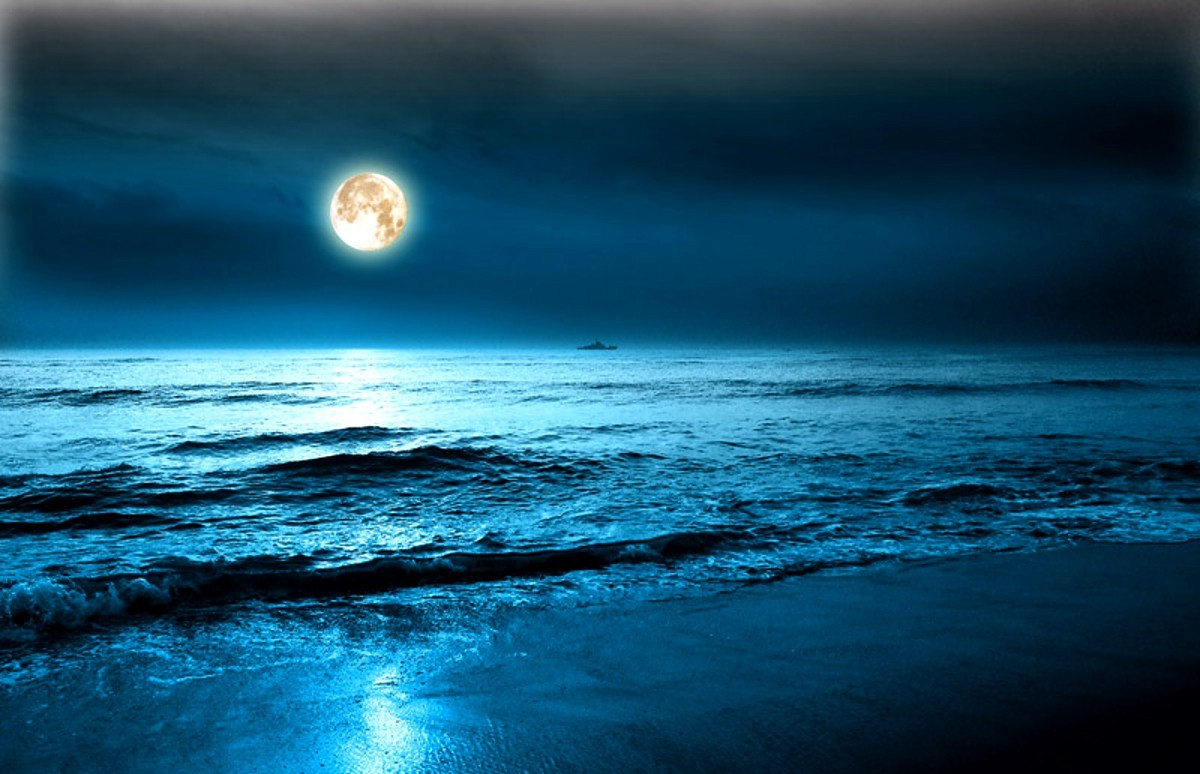 nature night Sea HD Wallpaper
