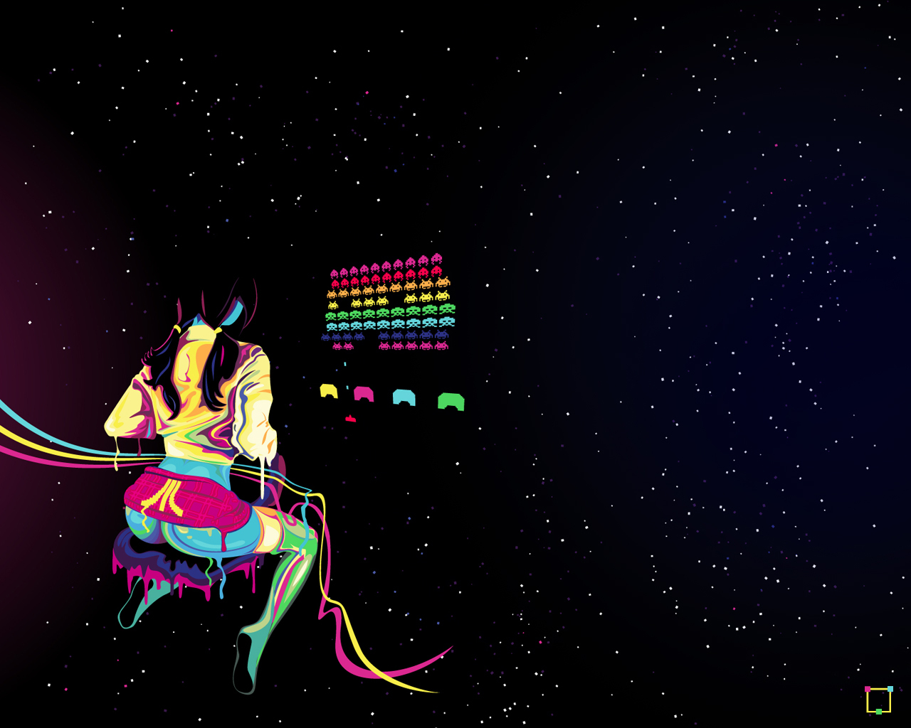 neon lamp Space Invaders HD Wallpaper