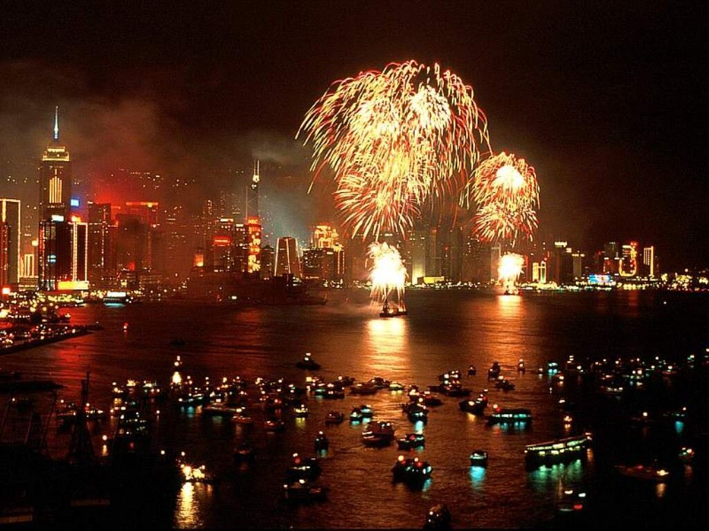 New Year fireworks hk HD Wallpaper
