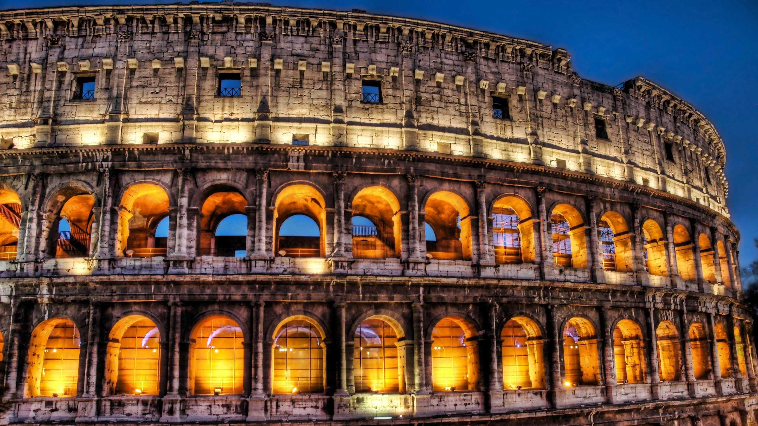 night architecture buildings Colosseum HD Wallpaper
