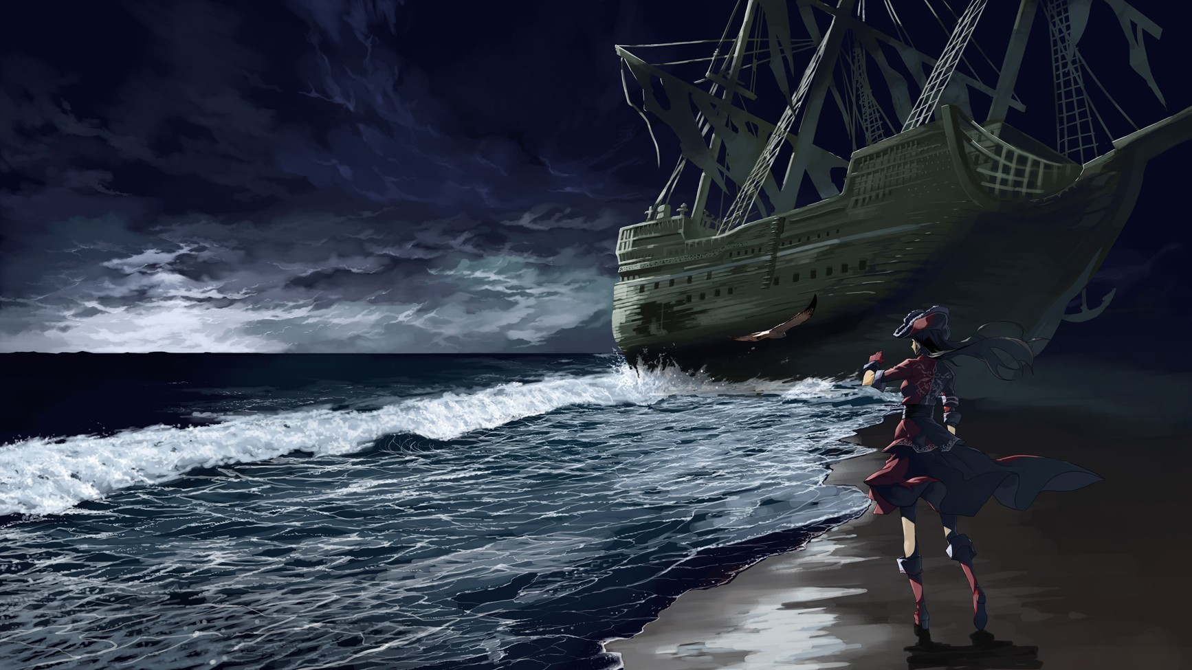 night Birds ships pirates HD Wallpaper