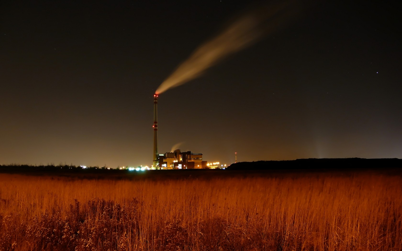 night field lights smoke FACTORY cityscapes HD Wallpaper