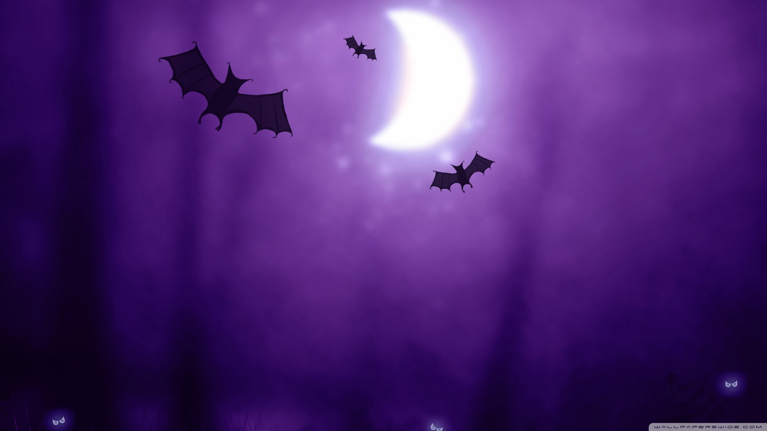 night Halloween moon purple HD Wallpaper