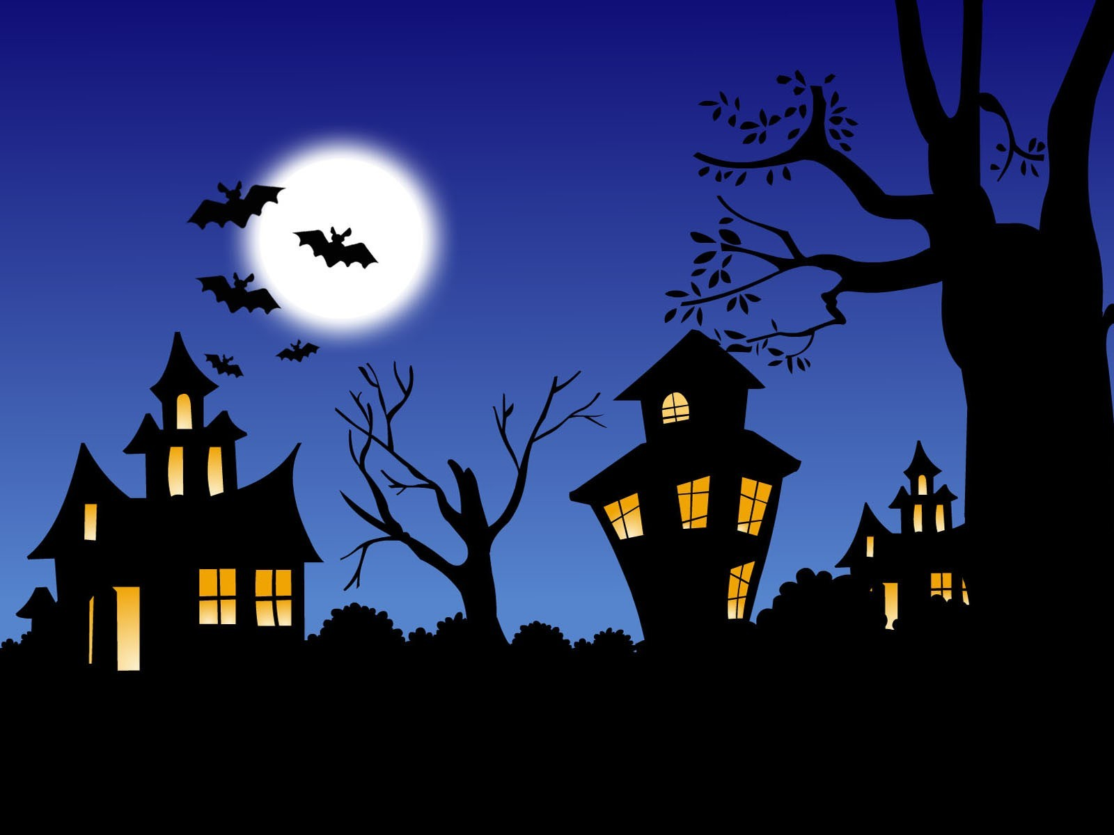 night moon Halloween bats HD Wallpaper