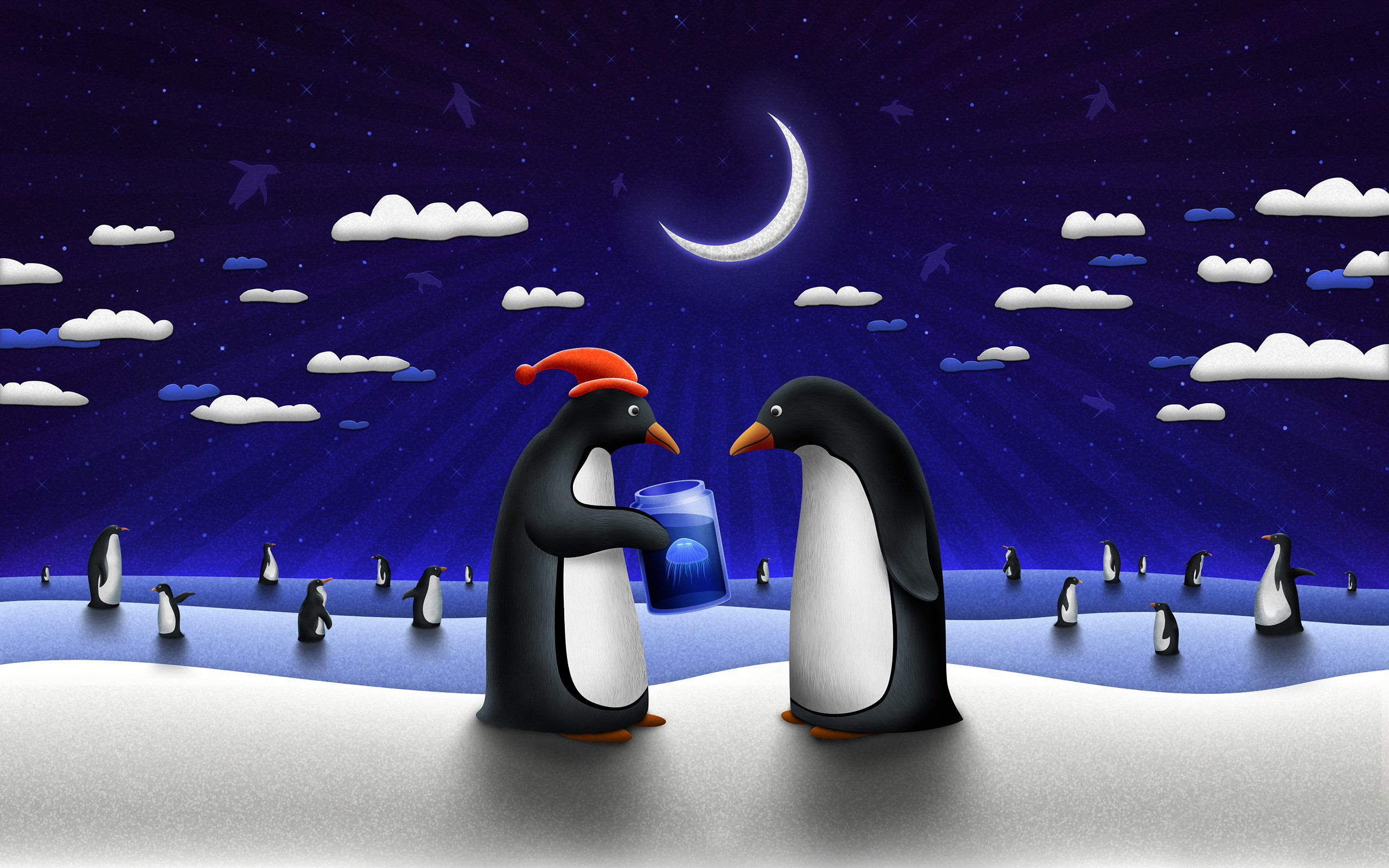 night Penguins vladstudio penguin HD Wallpaper