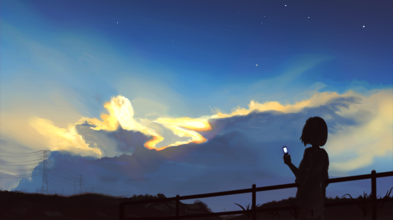 night Stars silhouettes Anime HD Wallpaper