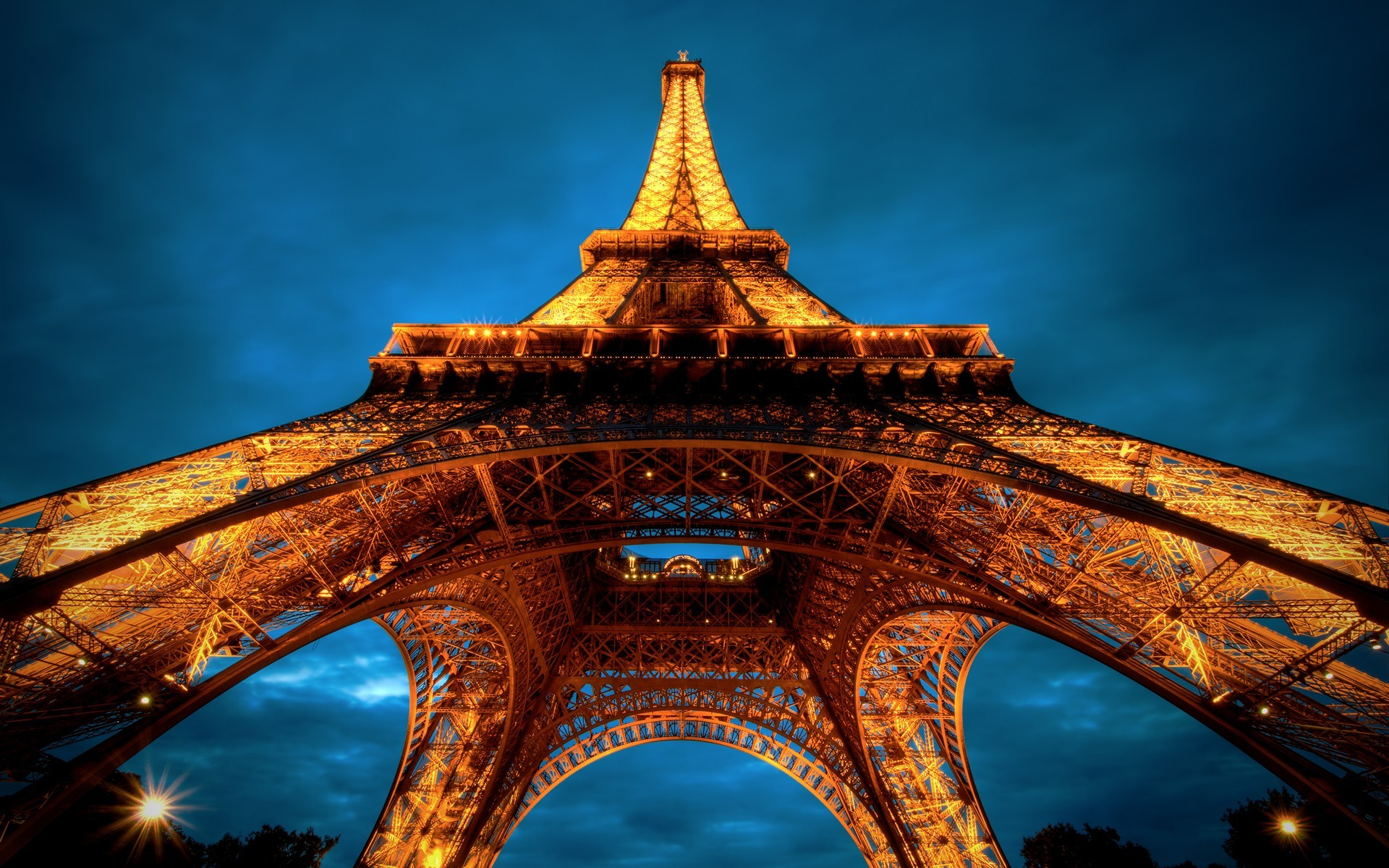 nighttime lights Paris Eiffel HD Wallpaper