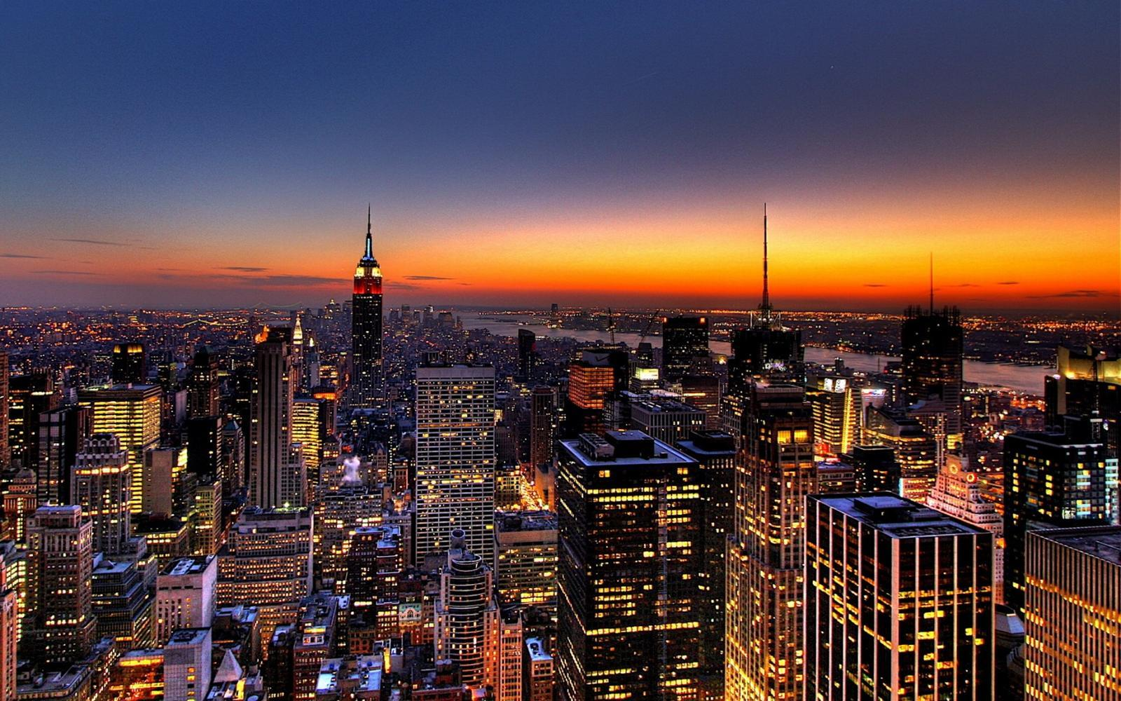 nyc sunset New York HD Wallpaper