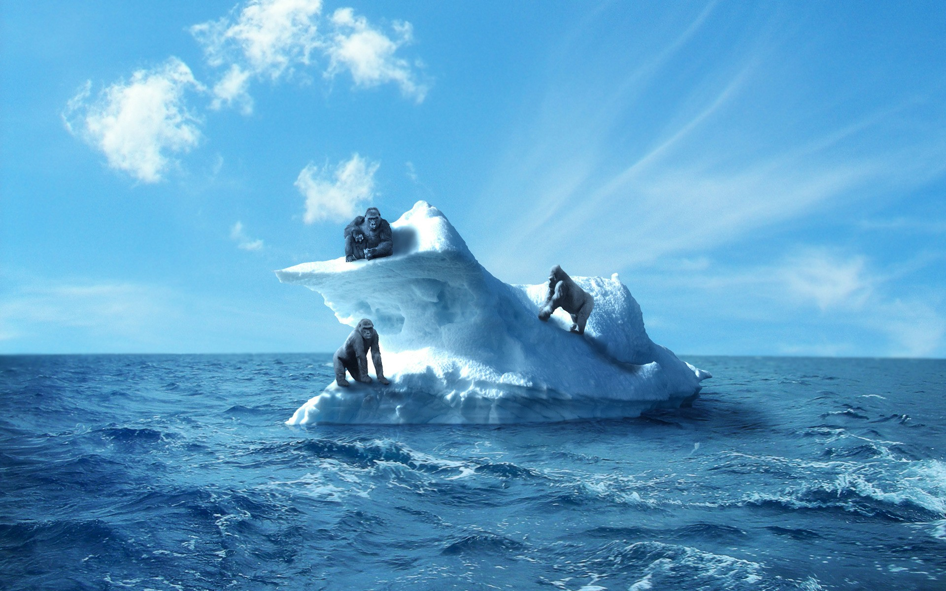 ocean clouds apes icebergs HD Wallpaper
