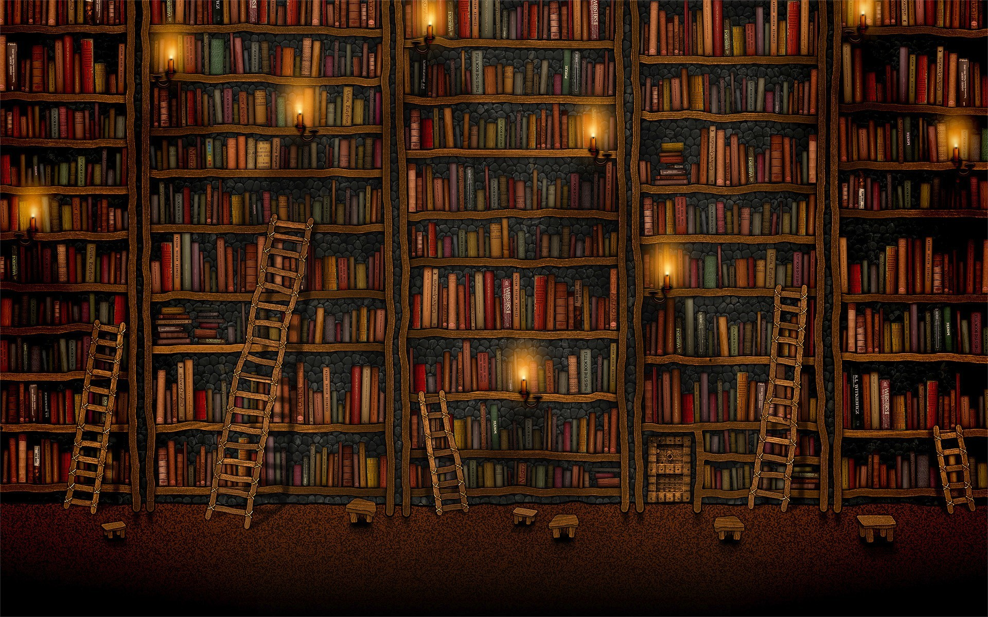 old Book Library ladder HD Wallpaper