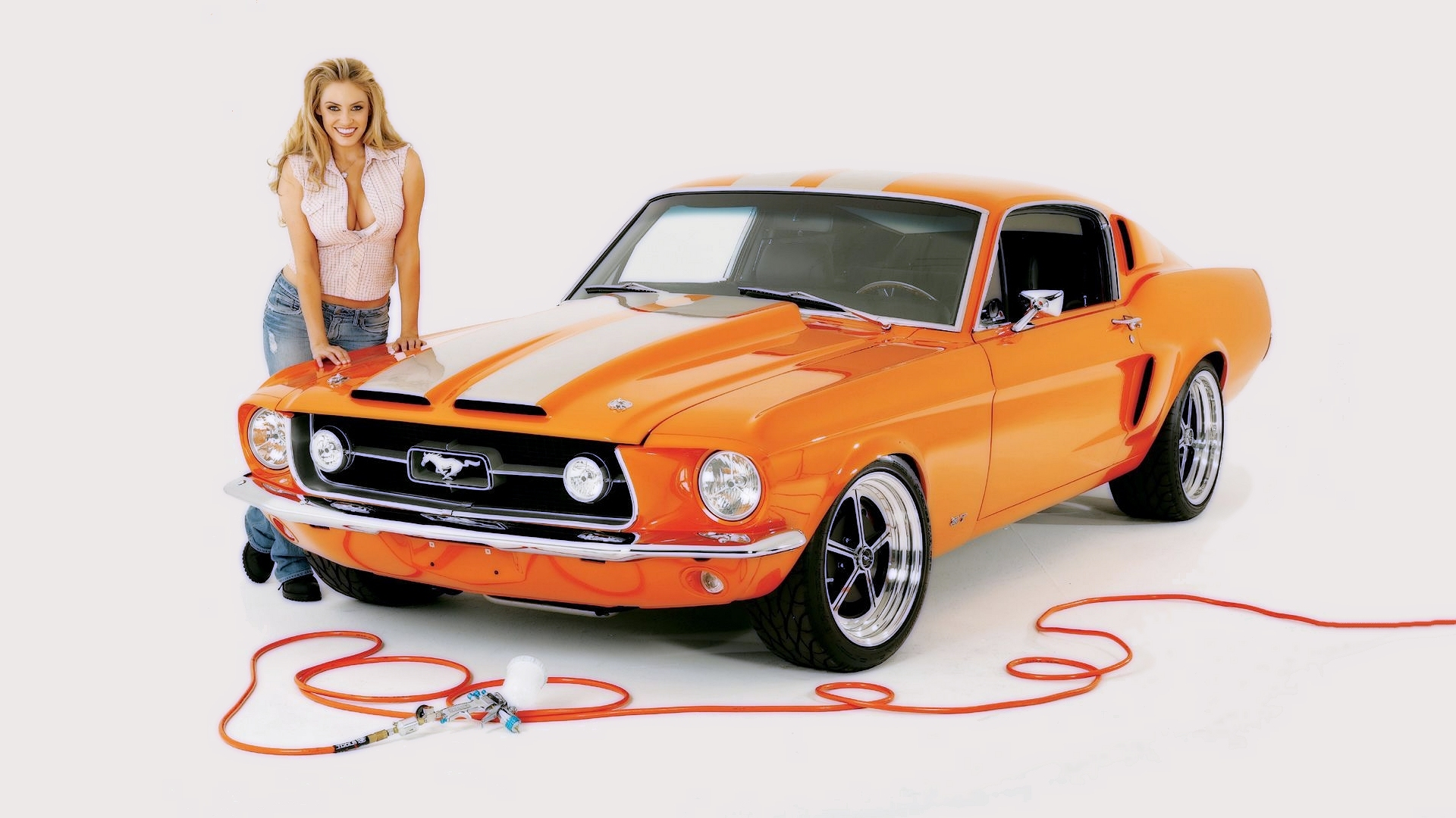 orange Ford mustang girls HD Wallpaper