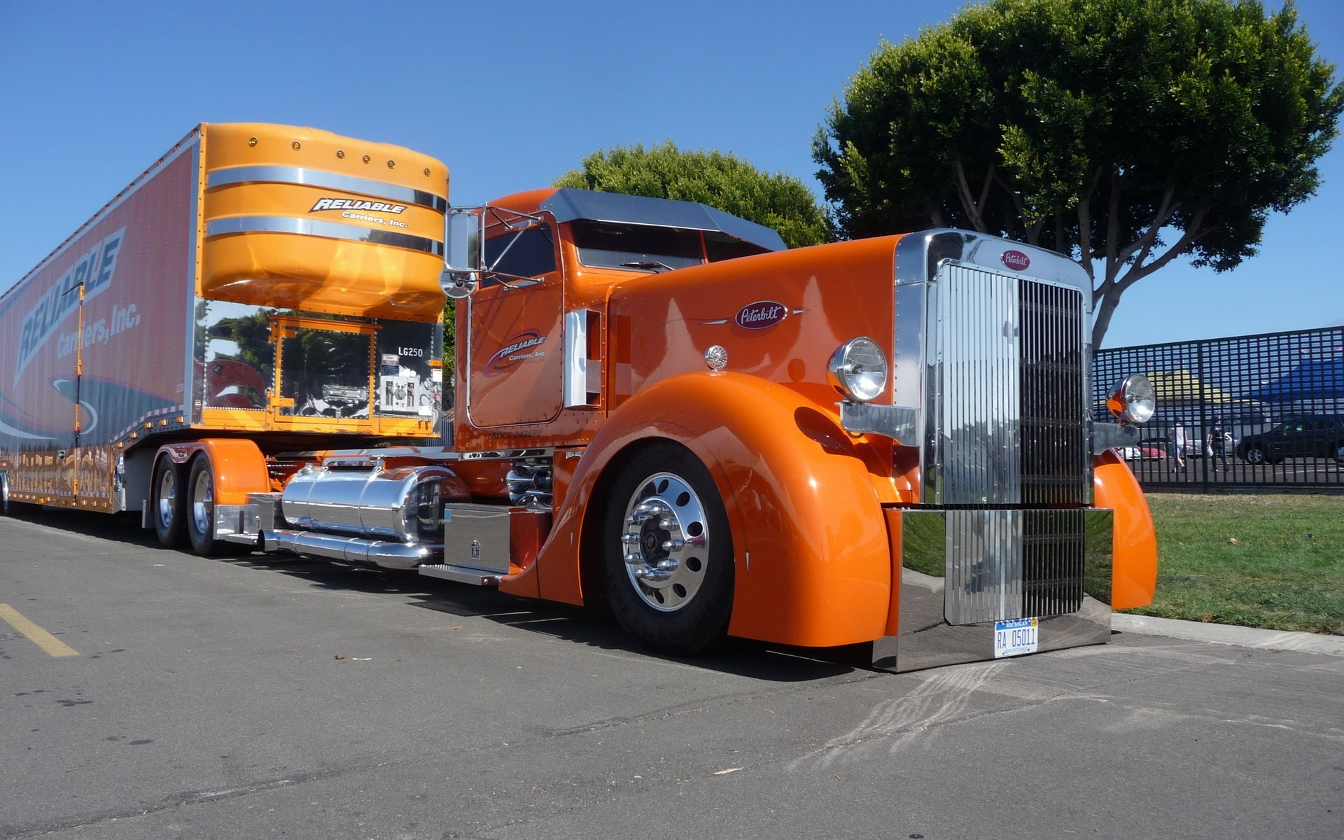 orange trucks vehicles track HD Wallpaper