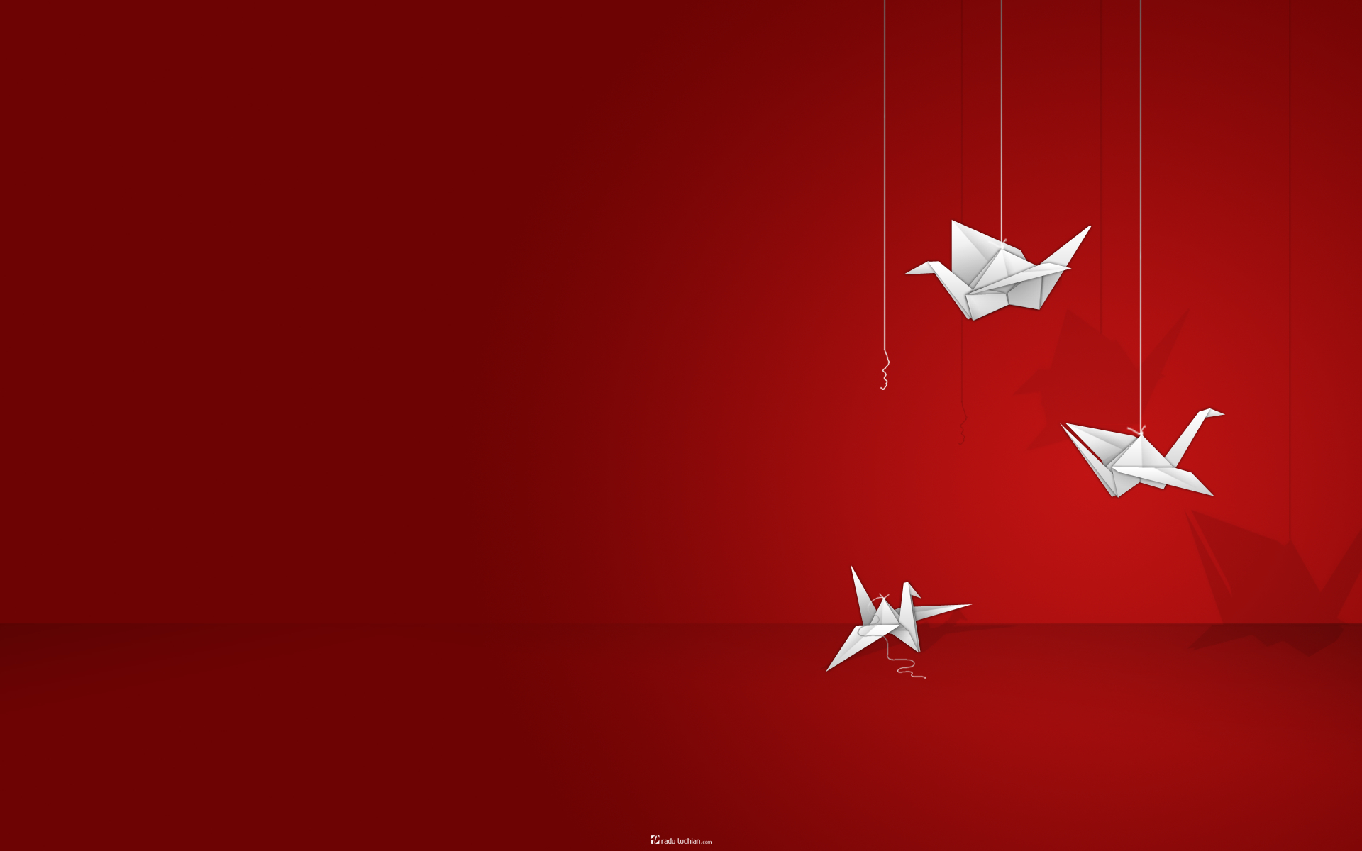 origami Birds simple red HD Wallpaper