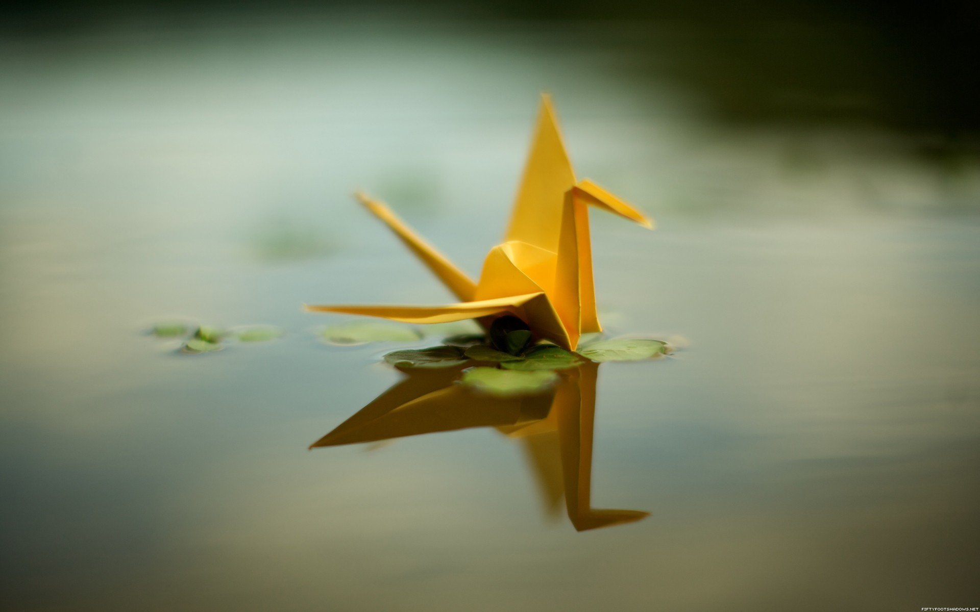 origami yellow ponds sepia HD Wallpaper