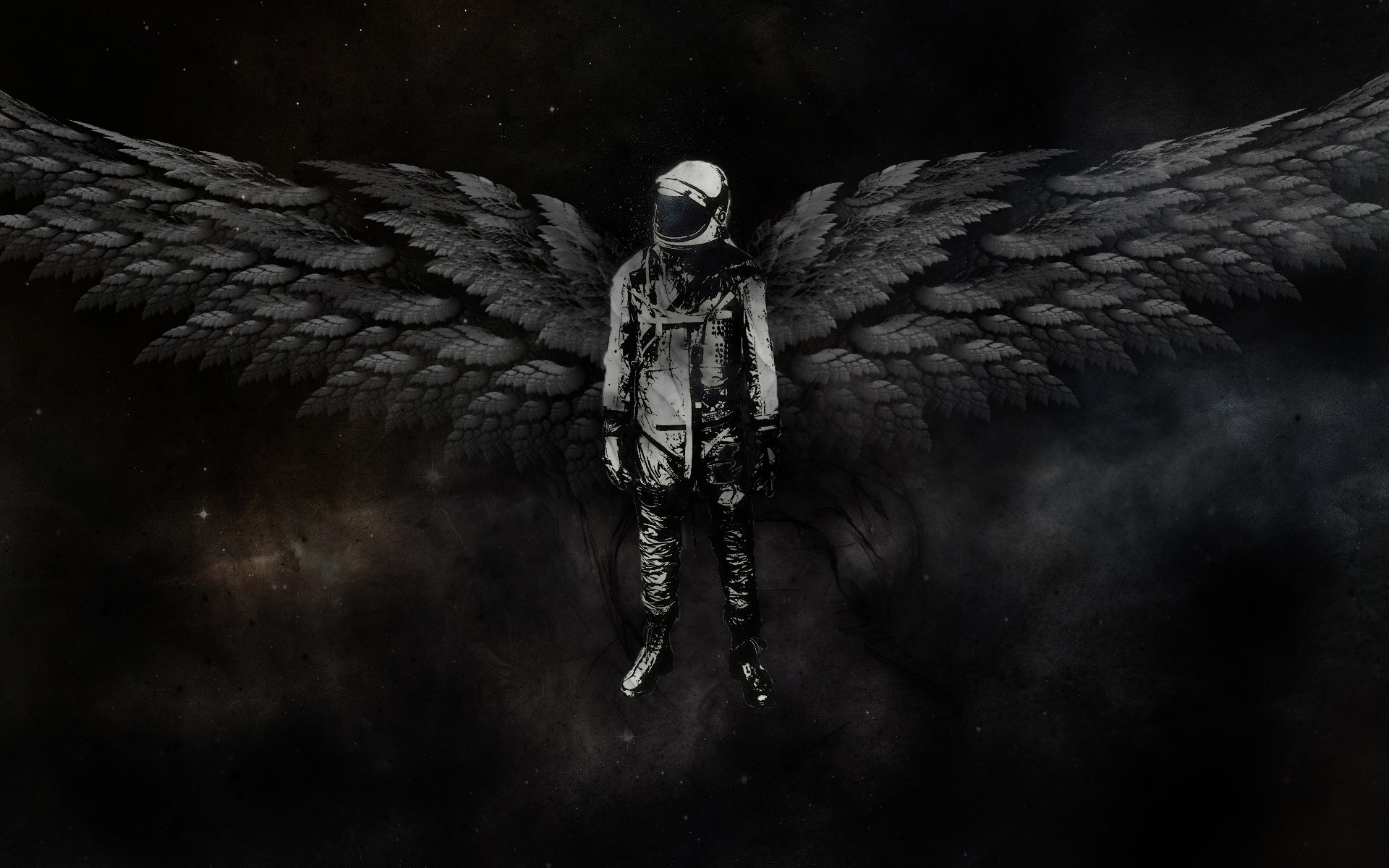 outer space astronauts angel HD Wallpaper