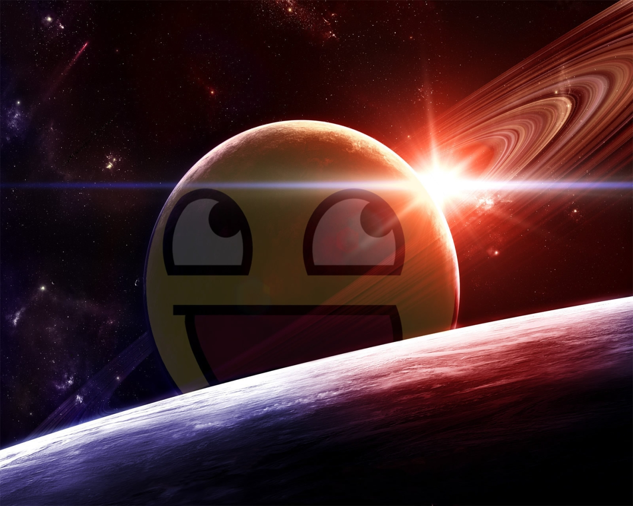 outer space Awesome Face HD Wallpaper