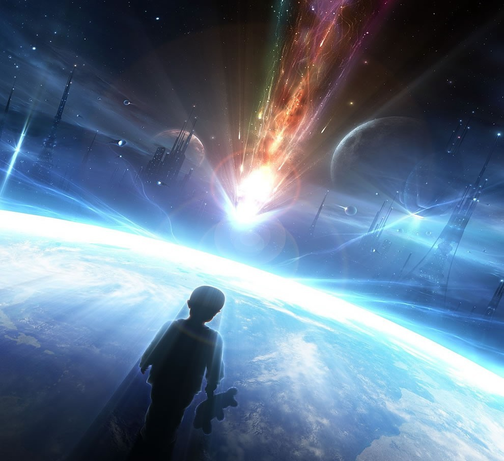 outer space cityscapes futuristic HD Wallpaper