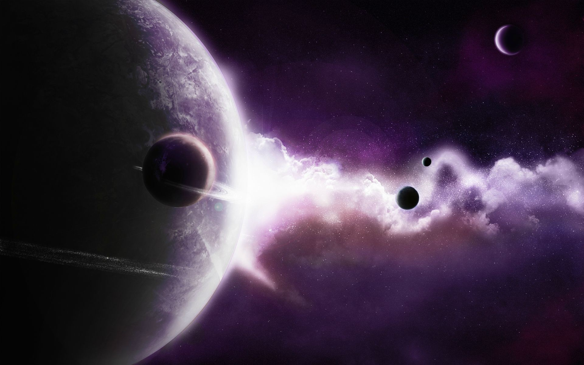 outer space dark planets HD Wallpaper