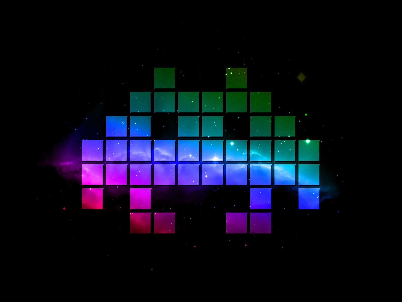outer space Invader (artist) HD Wallpaper