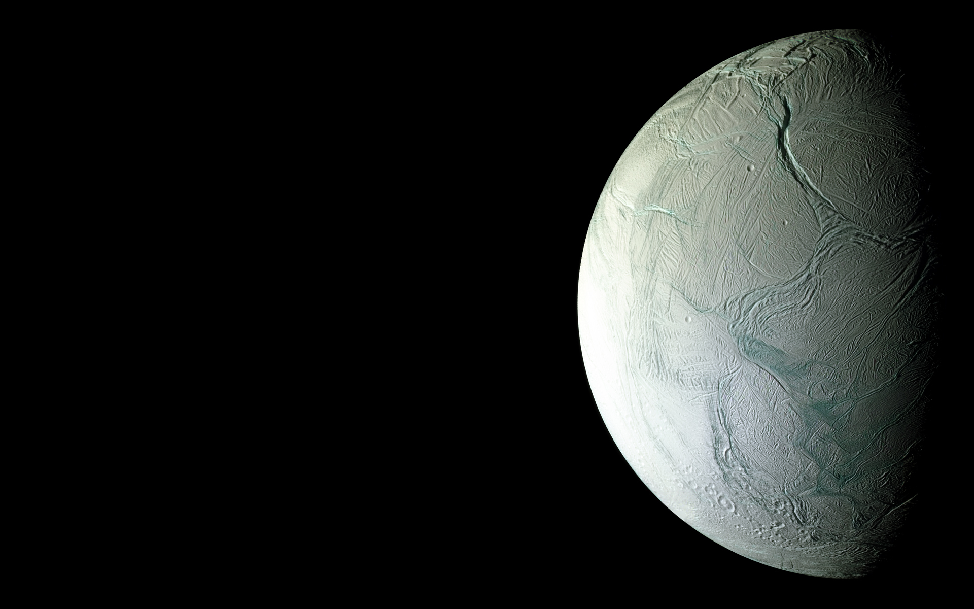 outer space moon Enceladus