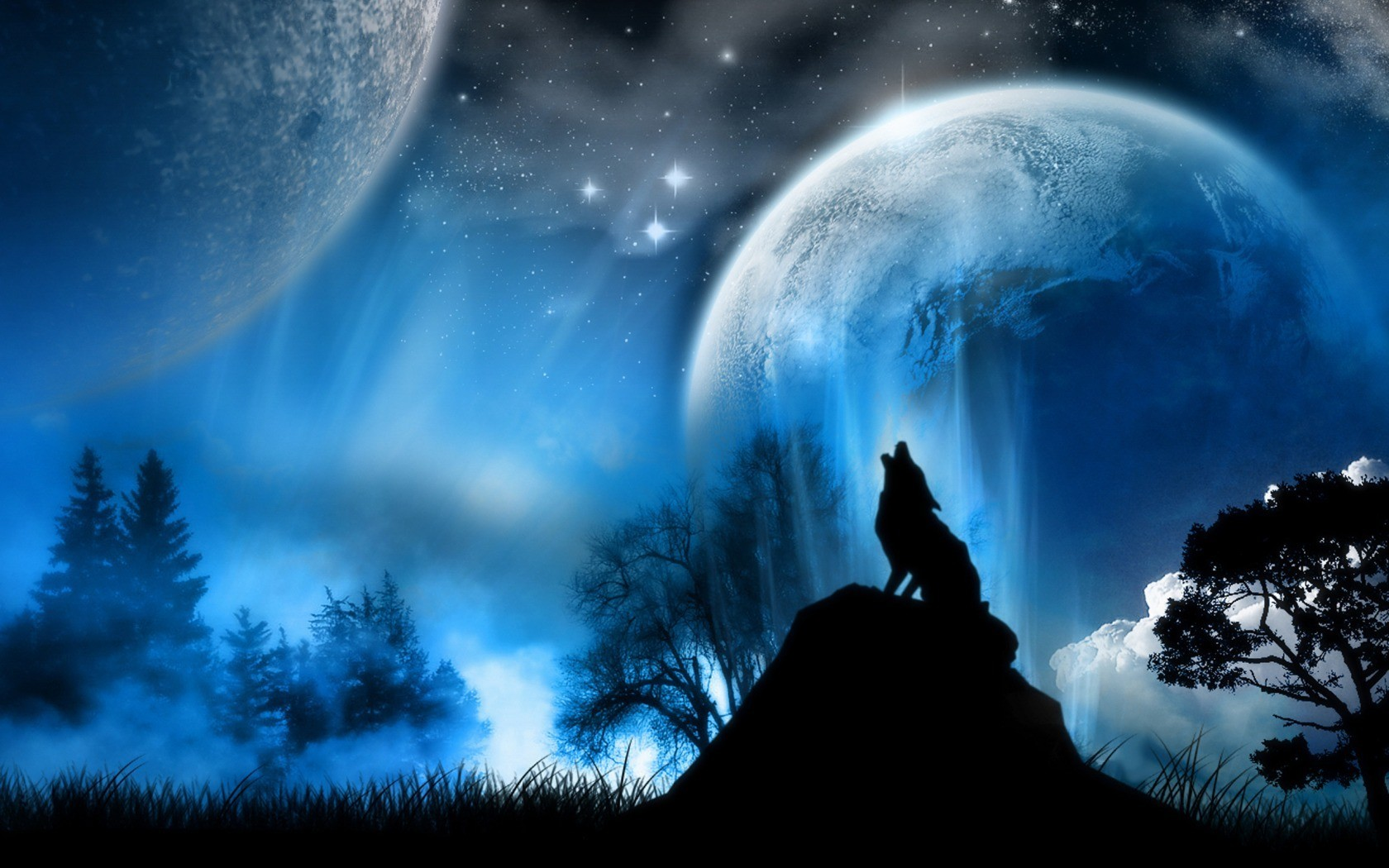 outer space moon howling HD Wallpaper