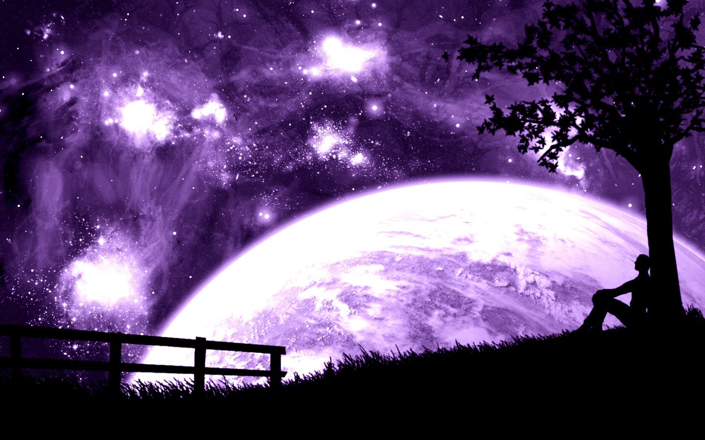 outer space planets purple